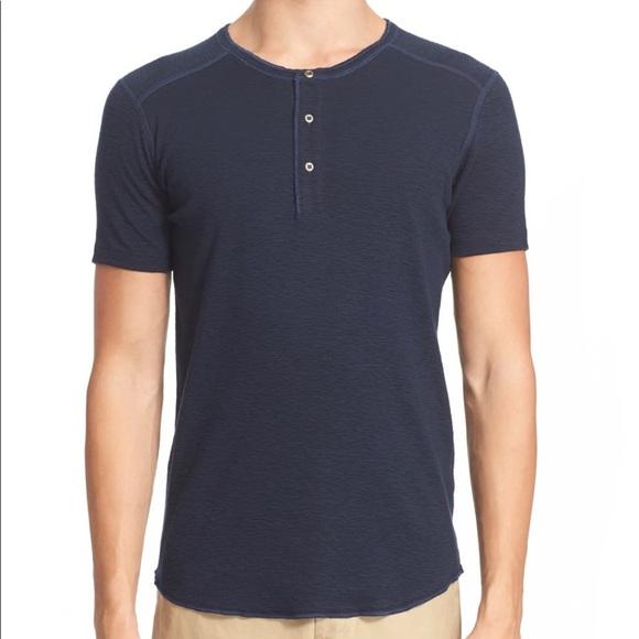 Wings + Horns Men's tee shirt Henley navy blue